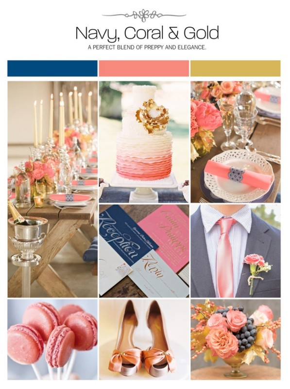 Navy Coral Gold Palette via Weddings Illustrated
