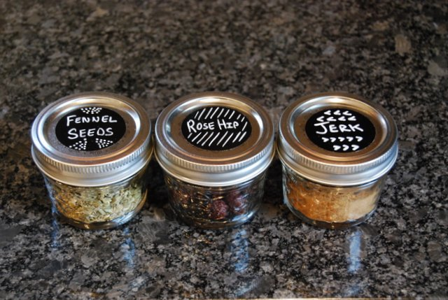 Spice Drawer Organization with Ball Jars