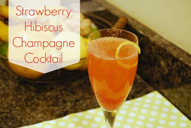 Strawberry Hibiscus Champagne Cocktail
