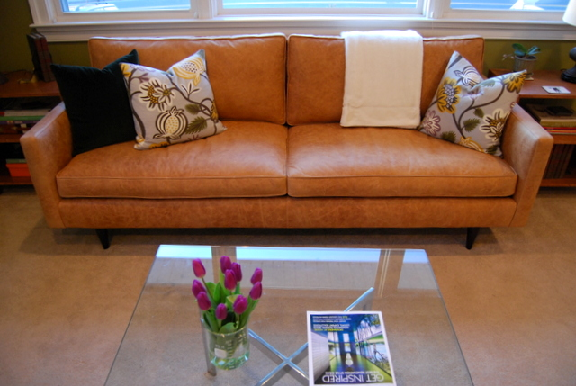 Our Reupholstered Petrie Sofa is Back! - The Borrowed AbodeThe ...