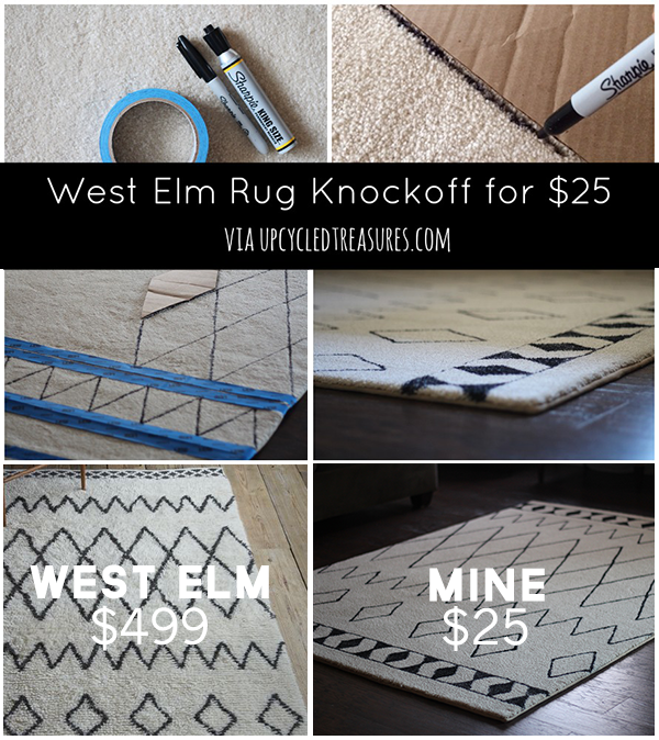 diy-sharpie-rug-west-elm-rug-knockoff-collage-upcycledtreasures