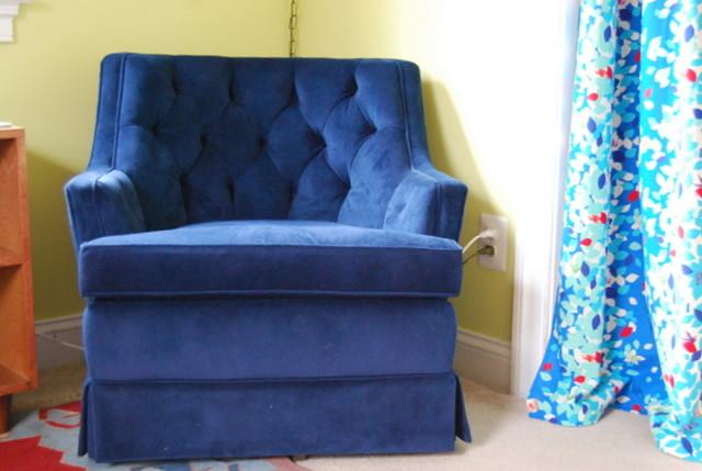 Vintage Swivel Rocker Blue Velvet Upholstery Nursery