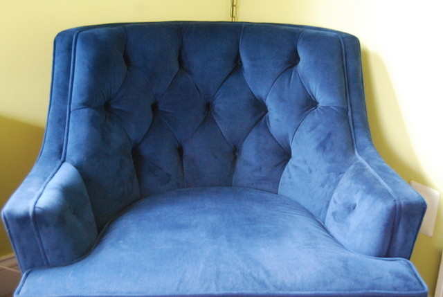 Vintage Swivel Rocker Reupholstered Diamond Tufting Nursery