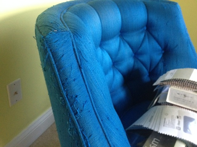 Vintage Swivel Chair Upholstery Scratched