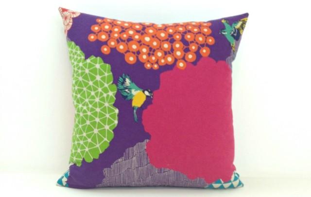 Janery Pillow Geo Bird 2 Grape 1000sq