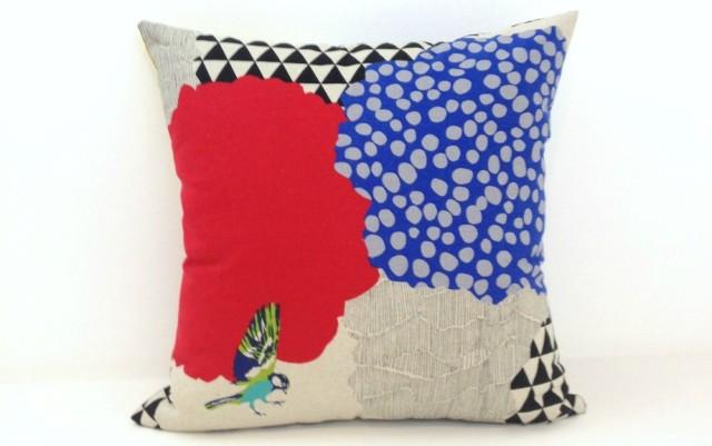 Janery Designer Pillow Geo Bird Neutral Invisible Zipper