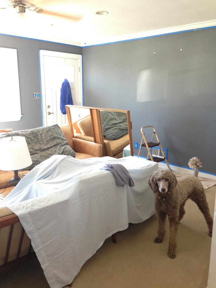 Living Room Blue Gray Walls In Progress