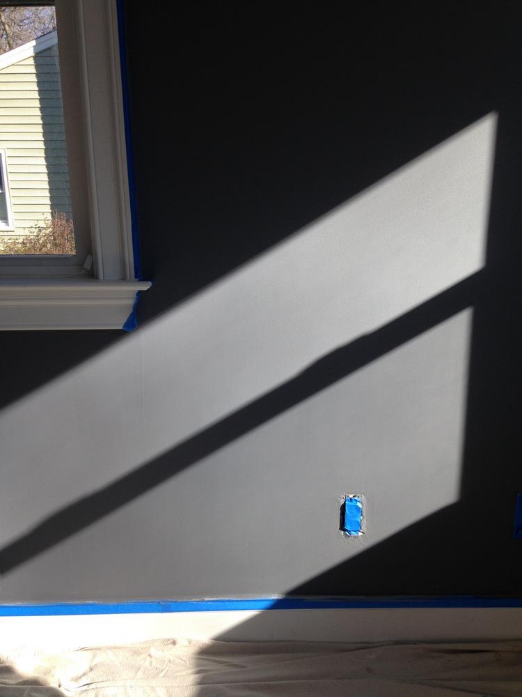 Living Room Blue Gray Paint in Sunlight