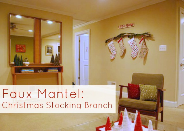 Christmas Stocking Branch On Wall For No Mantel The Borrowed Abode