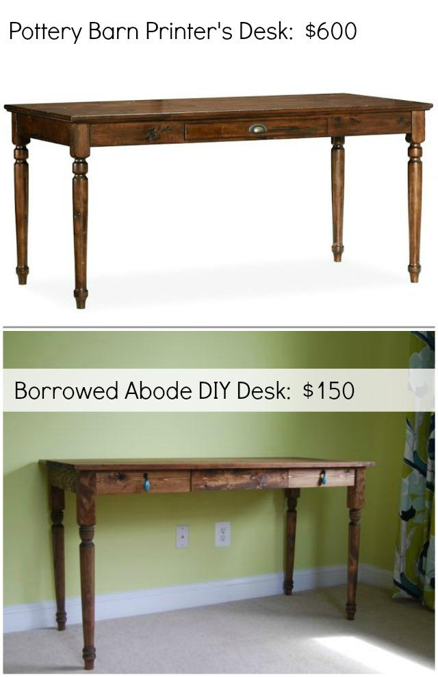Diy Pottery Barn Inspired Desk The Borrowed Abode