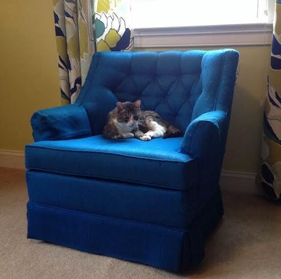 Vintage Swivel Chair Royal Blue